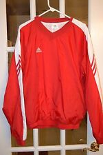 Adidas Men's V Neck Windbreaker/Jersey Red W/White Trim Size M Pre-Owned Great C