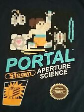 Mens We Love Fine Portal  Steam Aperature Science Blue T-Shirt Large L