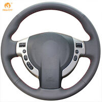 Black Leather Steering Wheel Cover for Nissan QASHQAI NV200 Rogue #GB04