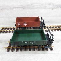 LGB aus Set 70255 - G - 2er Set DR offener Güterwagen + Bremserbühne #AV50795