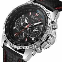 Herren Military Edelstahl Analog Sport Quarz-Armbanduhr aus Leder Neu