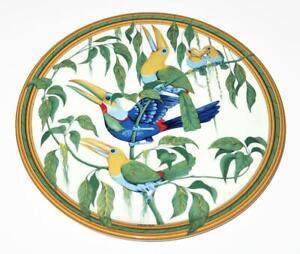 "Hermes Porcelain TOUCANS Round Cake Plate, 12 3/8"" Across"