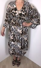 Leopard Print Dress Stretchy Batwinged Silky Soft Long Plus Size 16-22 NEW