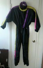 Obermeyer Black Ski Suit Retro Colorful One Piece Snow Suit Size 12 vintage 1980