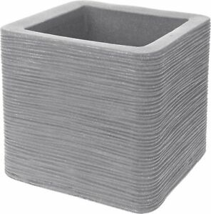 Large Square Cubed Plant Pot Light Grey Planter Double Walled Ribbed Flower Pot