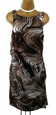 Karen Millen Size 14 uk Brown Swirl Ruched Wiggle Cocktail Dress