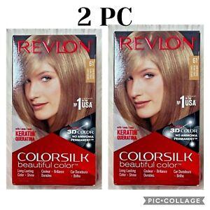 Lot 2 Revlon COLORSILK Beautiful Color Hair Dye Keratine Gel Permanent  #61
