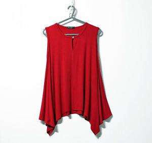 Cha Cha Vente USA Women's red Vest Top Cami Tee Blouse asymmetric hem Small NEW