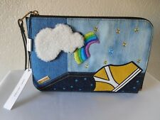 New Marc Jacobs Denim Embroidered Pouch