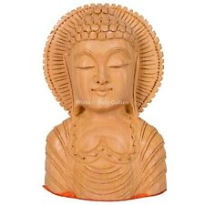Handmade Carved Wood Wooden Vintage Collectible Buddha Head Figurine Statue Bust