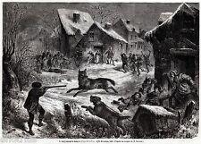 Inseguimento dei Lupi a Saliers, Arles. Francia. Capolavoro. Stampa Antica. 1861