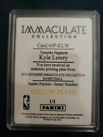2017-18 Panini Immaculate Kyle Lowry Patch Jersey Number Set 1/1 Printing Plate