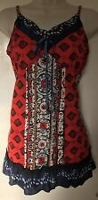 Joe Browns size 14 Strappy Top Red Blue Boho Cami Vest 100% Cotton Ex Con
