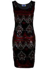 Women's Shiny Aztec Multi Sequin Sleeveless Party Slim Fit Ladies Bodycon Dress