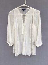 0e99804e5a080 Womens Witchery 3 4 Sleeve Semi Sheer Peasant Blouse Top Shirt White Size