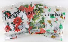 "3 PACK LOT ASSORTED FLANNEL BACK CHRISTMAS DESIGN TABLE CLOTHS VINYL 52"" X 70"""