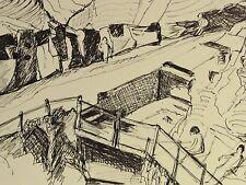 E. E. Deutsch Krone (1910-c.2000) Stiftzeichnung:CAVA SCURA St ANGELO, ISCHIA