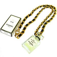 Authentic CHANEL Vintage CC Logos Gold Chain Perfume Pendant Necklace JT06157j