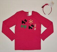 NWT Gymboree 8 Cheery All The Way Scottie Dog Top & Hair Set Pink Shirt Girls
