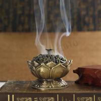 Lotus Cone Incense Burner Holder Flower Statue Censer Home Office Decor