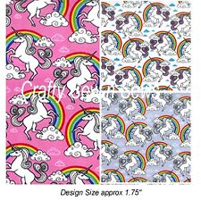 Cotton Poplin Fabric - Rainbow Unicorn Fabric Material - 710
