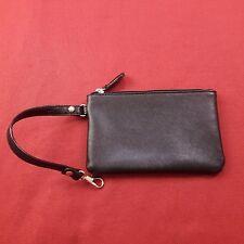 Womens Small Coin Wallet Textured Zip Up Black Strap Purse Bag Handbag Wristlet
