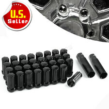 32pc Black 7 Spline Lug Nuts 14x1.5 for Ford Chevy GMC 8 LUG TRUCKS + 2 Keys