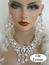 DRAG QUEEN AB GOLD CRYSTAL NECKLACE CLIP ON EARRINGS STAGE BRIDAL COSTUME