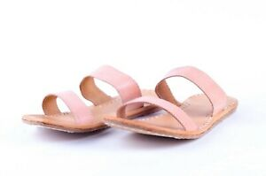Beige leather slippers womens sandals casual wear footwear slides us 13 big size