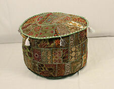 Indian Pouffe Vintage Pouffe Cover Round Pillow Cover Handmade Cotton