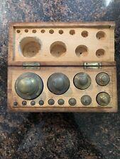 Antique Vtg Brass Apothecary Calibration Weights Set w/ Wood Box Knott Boston