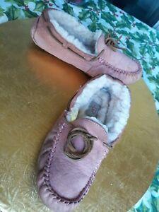 Comfort UGG Salmon LEATHER Logo Cream FUR Women Size 7 Warm Slippers