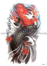 "US SELLER, waterproof tattoos koi carp fish 8.25"" large arm temporary tattoo"