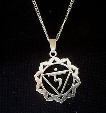 Chakra Diosa Colgante Collar de plata tono cadena de 18 pulgadas