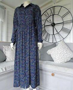 Vintage Laura Ashley Purple Floral Wool Blend Shirt Smock Prairie Dress 12
