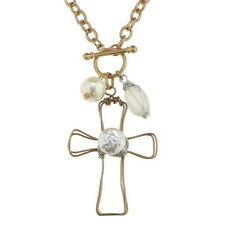 Cross Pendant and Pearl Charm Gold Tone Toggle Necklace with Wire