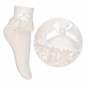 GIRLS/LADIES/BABY WHITE ANKLE FRILLY LACE SOCKS 1/2/3 PAIRS WOMENS FRILL SOCKS