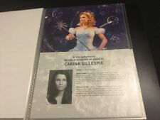 Wicked The Musical London Carina Gillespie A4 Standby/Played By Sheet/Card