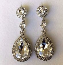d Large diamond white crystal pear drop white gold pltd earrings free gift box