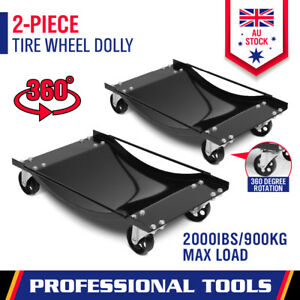 2-Piece Wheel Dolly Car Positioning Jack 450kg Vehicle Mover Transporter Trolley
