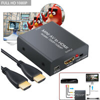 1080p Mini Composite AV CVBS RCA to HDMI Audio Video Converter Adapter + Cable