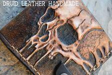 Mens Leather wallet, Skull wallet, Hand-carved, Hand painted,wallet carved skull