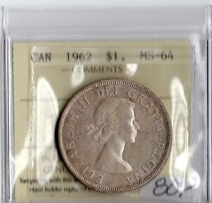 Canada 1962 Silver Dollar ICCS Certified MS-64