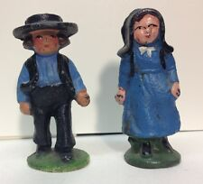 (55183) VINTAGE GREY IRON AMISH BROTHER and SISTER
