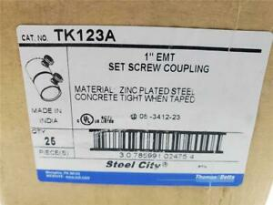 TK123A 1 INCH EMT SET SCREW COUPLING (QTY 26) ZINC PLATED