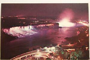 Canada Ontario Niagara Falls Observation Deck Illumination Postcard Old Vintage