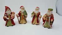 Vtg Set of 4  Homco Old World Father Christmas Santa Figurines #5610 holiday B1
