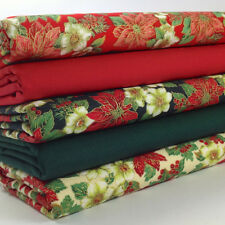 Bundle 5 christmas fat quarters red green & ivory poinsettas 100% cotton no.51