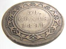 1898 Newfoundland Canada 50 Cents Half Dollar Circulated Victoria Coin R579
