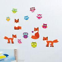 Wandtattoo XXL Set Wald Tiere Kinder Zimmer Deko Wand Klebe Sticker Wandbild Neu